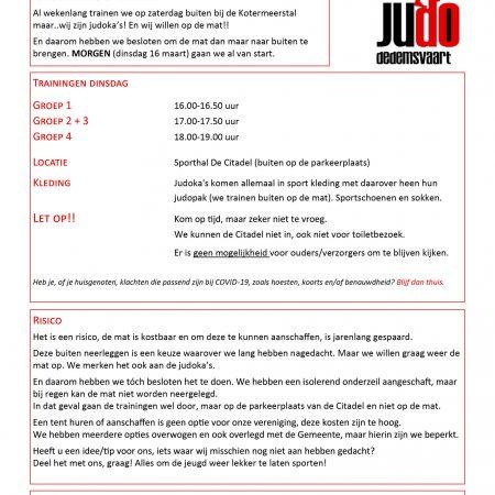 Training Judo Dedemsvaart maart 2021